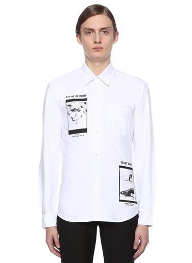 McQ Alexander McQueen Uzun Kollu Klasik Gömlek Beyaz